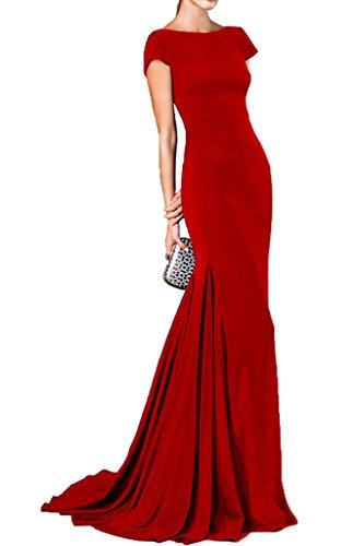 Victory Bridal 2016 Neu Einfach Royal Blau Kurzarm Abendkleider ballkleider Brautjungfernkleider Figurbetont Lang Dunkel Rot