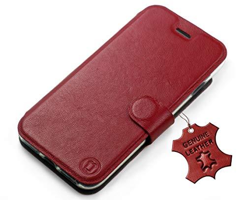MOBIWEAR Echt Leder Leather Book Style Handy Motiv Tasche Flip Case Cover Hülle für HTC Desire 650 - Dark Red Leather