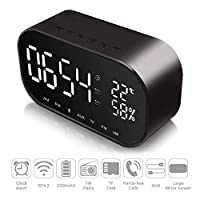 HFYAK LED Digital Alarm Clock Bluetooth Speaker, Bedside Clock with Dual USB Charging Port, Dual 3W Driver Stereo Speaker,FM Radio,4.2 Bluetooth,AUX TF Card,Dimmable,Snooze,Thermometer
