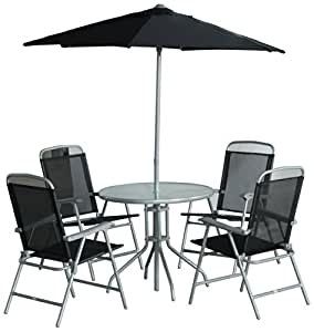 CB Imports 4 Seater Metal Patio Furniture Set, including Parasol, Glass Table and 4 Chairs