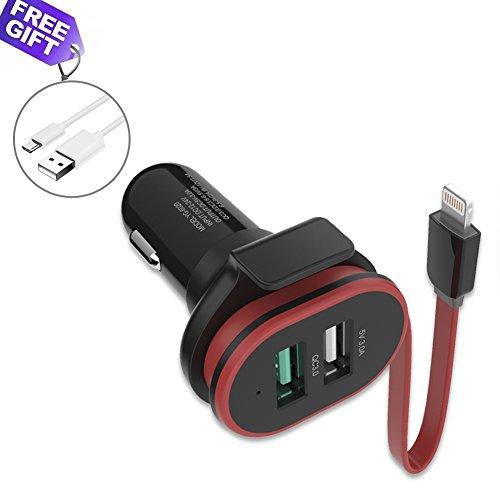 UPWADE Quick Charge 3.0 cargador de coche 3 Puertos 45W con clavija Lightning Cargador Móvil Coche Adaptador Automóvil para Samsung Galaxy S8/Note 8/S7, LG G5 G6 HTC 10 iPhone 8/8 Plus/7 y más