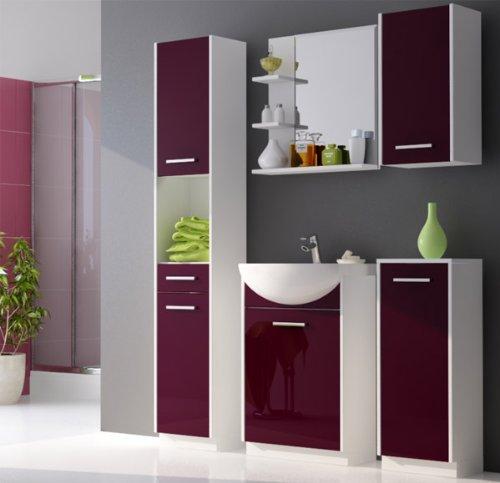 Badmöbel Set mit Waschbecken, Weiß/Violett Hochglanz