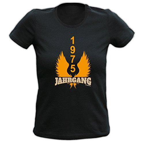 Damen T-Shirt exklusiv zum Geburtstag - Jahrgang 1975 - Ein geniales Geschenk! Schwarz