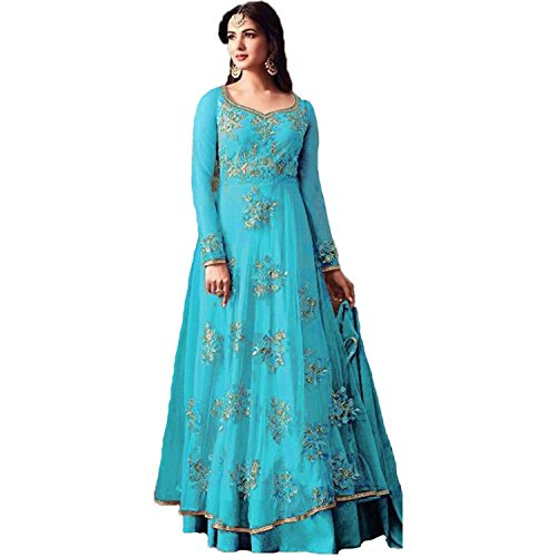 Clothfab Women's Net Embroidered Sky Blue Colour Long Anarkali Gown Style Dress...