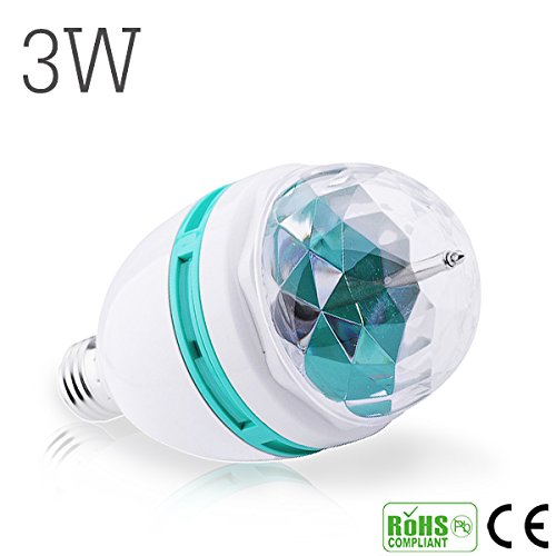 Más vendidas 3 W RGB Etapa lámpara E27 LED luz bombilla varios colores rotación de para fiestas DJ con iluminación LED