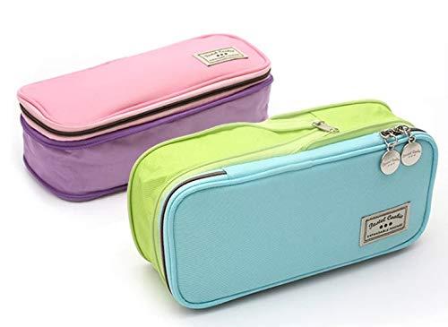 Multifunktionale Creme Doppel-Reißverschluss groß-Kapazität zweifarbige Stifttasche - Versiegelung Creme