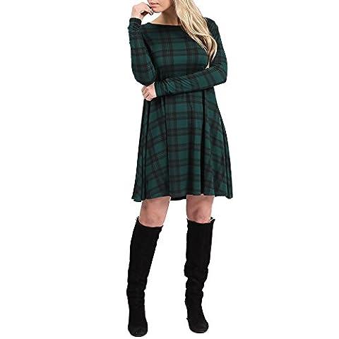 Simply Chic Outlet - Robe - Robe de swing - Manches Longues - Femme noir noir 36 - vert - 50
