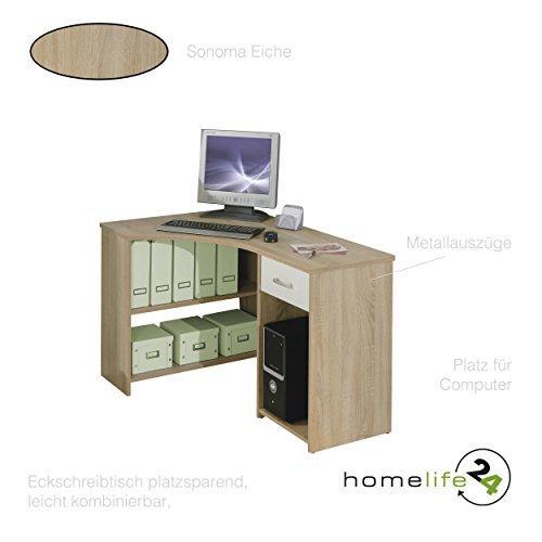 Eckschreibtisch Schreibtisch Winkelkombination In Weiß Sonoma Eiche,  Schublade Und Fächer Als Computertisch Für Das Kompakte Büro Im Eck