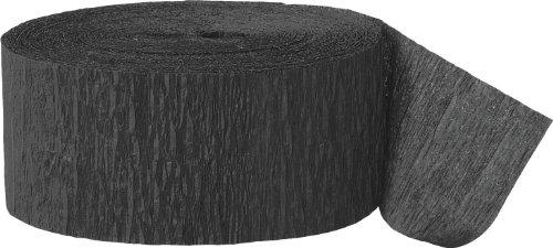 Unique Party- Serpentina de papel crepé para fiestas, Color negro, 24 cm (6375)