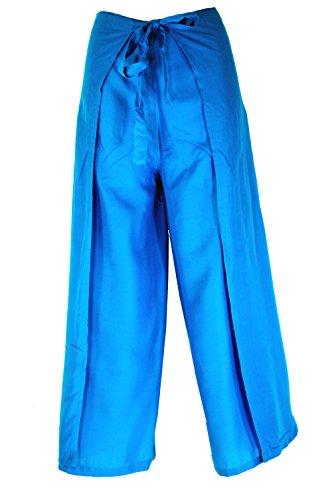 Guru-Shop Wickelhose - Blau, Herren/Damen, Viskose, Size:One Size, Wickelhosen Alternative Bekleidung (Fisherman Pants Band-thai)
