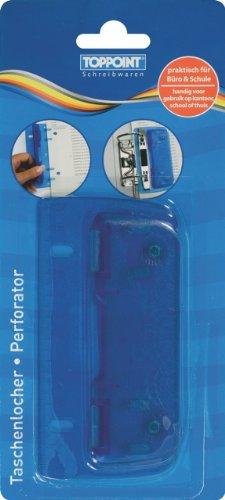 Taschenlocher Mini Locher mit Linealfunktion blau