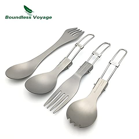 Eco-friendly Healthy Foldable Titanium Fork Titanium Spoon Dinnerware Ultralight Spork sets
