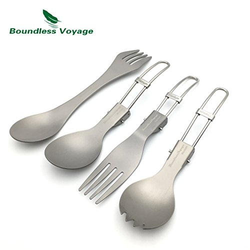 GADIEMKENSD Eco-Friendly Healthy Foldable Titanium Fork Titanium Spoon Dinnerware Ultralight Spork Sets