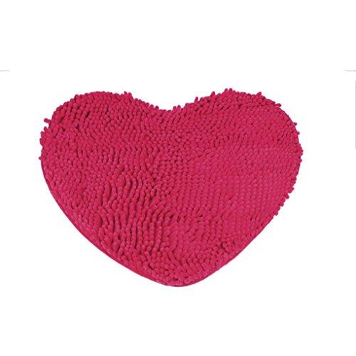 hunpta® Schlafzimmer Fußmatte HERZFORM Teppich flauschig Chenille Teppich Kissen hot pink