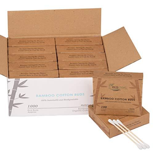 1000 gommini ecologici in cotone di bambù, biodegradabili, ecologici, in cotone riciclabile