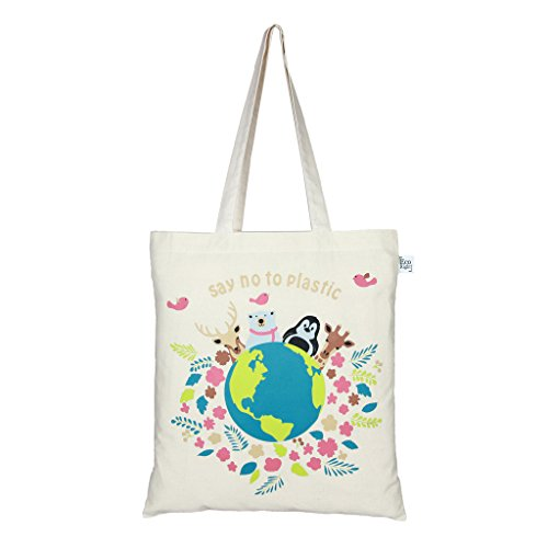 EcoRight-Reusable-100-Cotton-lightweight-EcoFriendly-Tote-Bag-Printed-Happy-Planet