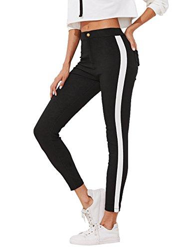DIDK Damen Schmale Knöchel Jeans Mit Seitensteifen Hosen,Damen Skinny Gestreift Jeans Hose mit Taschen Stripe Pants Straight Leg Schwarz M