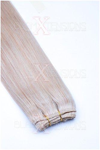 (Weft Echthaartresse glatt 100% indisches Echthaar 45cm Haarverlängerung Extensions in 18 wählbaren Farben Nr. 24)