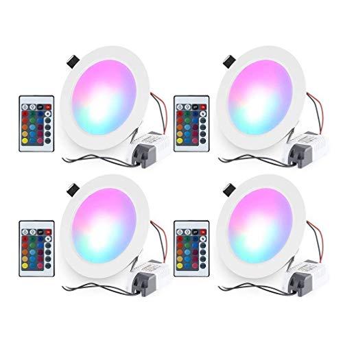 Esbaybulbs 10W RGB Luci da incasso LED Faretti Da Soffitto,lampade a sospensione e plafoniere, telecomando con LED autista [4 pack]