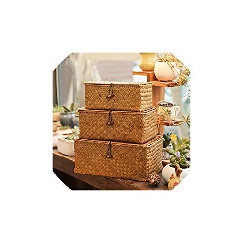 Gezellig Vesper Baskets Woven-Speicher-Korb mit Deckel Rattan Sundries Aufbewahrungsbehälter Weidenkorb Handgemachte Sorting Boxen Seegras Schmuck Organizer, S -
