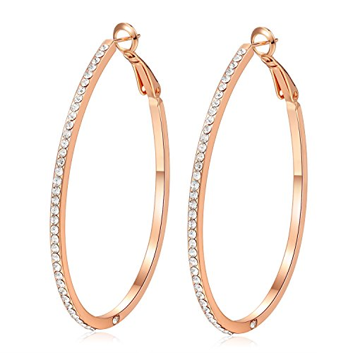 EVERU Große Lange Ohrringe Gold Creolen Rosegold Plated für Frauen Damen (Runde)