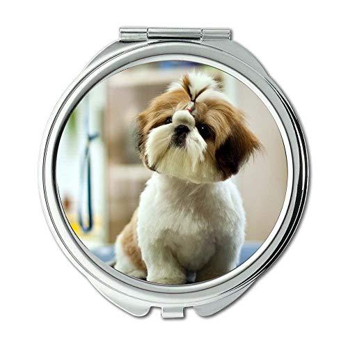 Yanteng Spiegel, runder Spiegel, englischer Bulldogge süßer Hund, Taschenspiegel, 1 X 2X...
