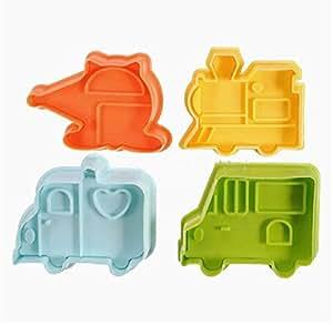 4x 3D emporte-pièces Voiture Train Bus Transport Fondant Gâteaux Biscuit Coupe Biscuit Coupe
