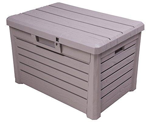 Ondis24 Kissenbox Florida Holz Optik Sitztruhe Auflagenbox Poolbox grau 120 Liter XL mit...