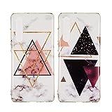 Misstars 2X Hülle für Huawei P30 Marmor, Weich TPU Silikon Handyhülle mit IMD Technologie Schutzhülle Flexible Dünn Backcover, Rosa Dreieck+Schwarz Dreieck