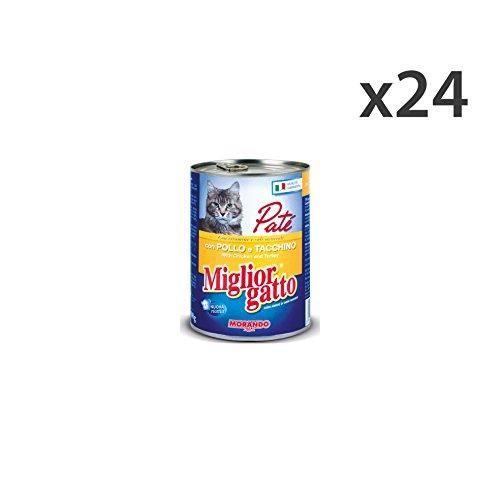 Set 24 MIGLIOR GATTO 400 Gr. Umido Patè Pollo-Tacchino Cibo per gatti