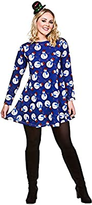 wicked Ladies Blue Christmas Dress with Snowmen Fancy Dress Outfit