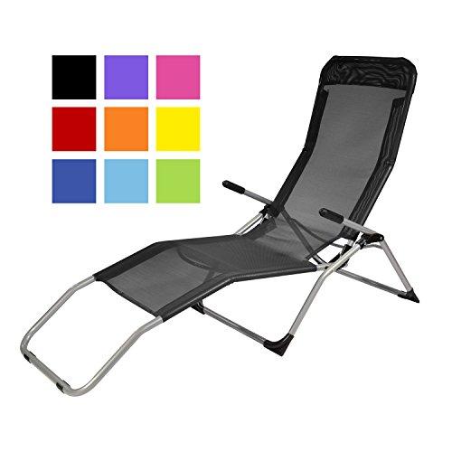 TPFGarden Gesundheitsliege Kippliege Relaxliege ATHEN klappbar + aus Stahl + wetterfest | Farbe: Schwarz | Hohe Qualität