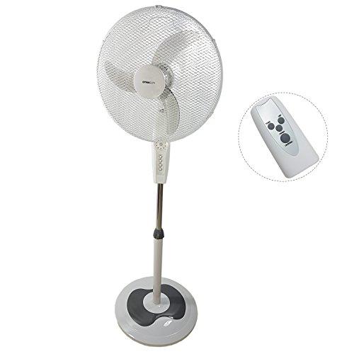DynaSun Ventilateur sur Pied Télécommande 50W Oscillant RD40BC Blanc LCD LED 50W Pro Design 3 Vitesses Design Ventilateur