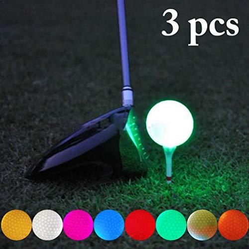 Fansport 3PCS LED Golf Ball Luminous Glow Golf Ball LED Ball FüR Nacht (Farbe ZufäLlig)