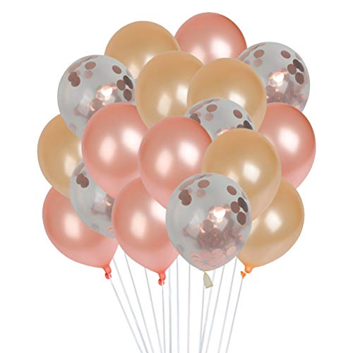 FOCCTS Roségold Konfetti Ballon Set von 47, 12 Zoll, 45 Ballons mit einer kleinen Pumpe und einer Rolle von 10 Meter langen weißen Band. Ideal für Brauthochzeitsdekorationen, Geburtstagsfeiern Halloween Weihnachten