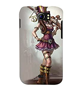 Printvisa Warrior Girl Winking Back Case Cover for Micromax Canvas 2 A110::Micromax Canvas 2 Plus A110Q