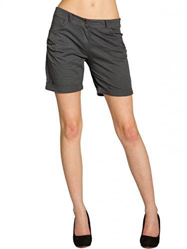 CASPAR BST006 Damen Baumwoll Sommer Shorts Kurze Hosen, Farbe:dunkelgrau;Größe:42 XL UK14 US12