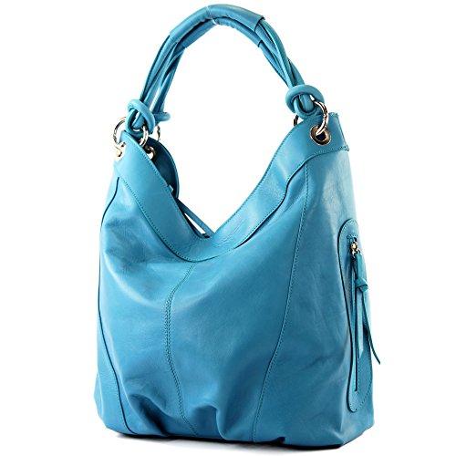 modamoda de - ital. Handtasche Damentasche Schultertasche Ledertasche Tasche Nappaleder Z18 Türkis