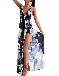 Vestidos Mujer Verano Elegante de Maxi Vestir sin Mangas de para Playa Fiesta,Floral Impreso