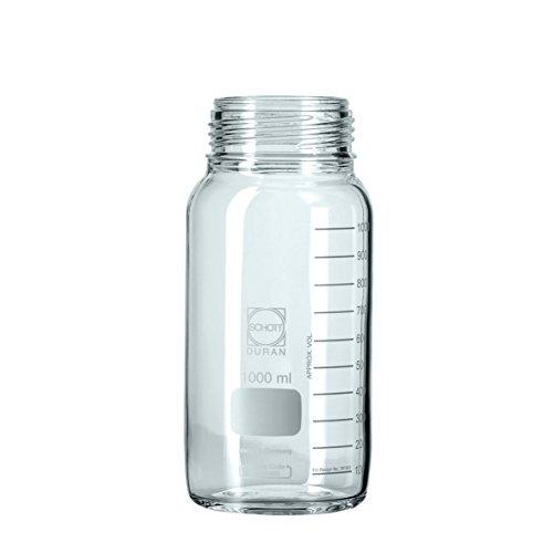neoLab 2-3055 DURAN GLS 80 Weithalsflasche ohne Kappe und Ring, Klar, 2000 mL Nennvolumen