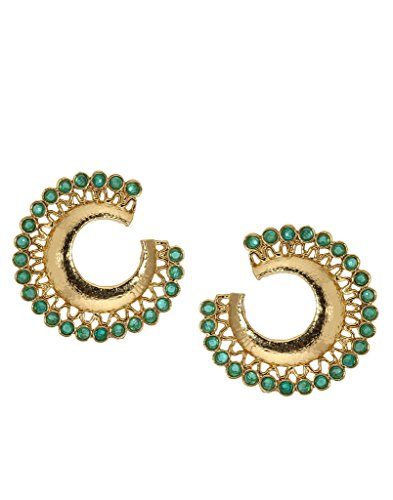 Bindhani Traditional Fancy Chandbali Cresent Moon Green Earrings For Girls (Chand Bali)  available at amazon for Rs.199