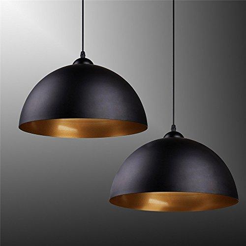 Design 1x Industrielle Vintage LED Pendelleuchte Hängeleuchte Φ 300mm für E27 Leuchtmittel, Außen weiß, innen schwarz, für Wohnzimmer Esszimmer Restaurant Keller Untergeschoss usw [Energieklasse A+]