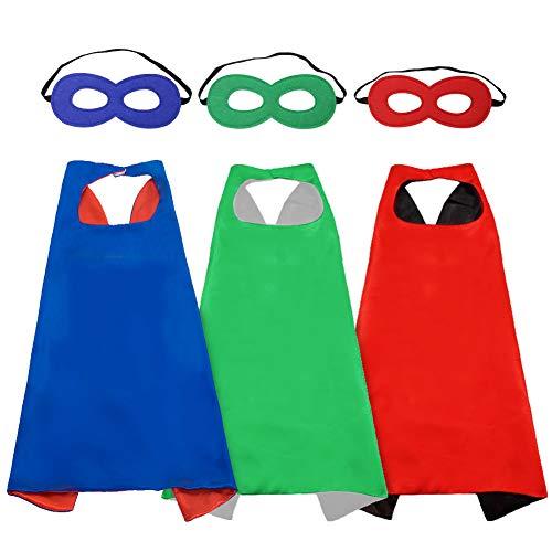 LYTIVAGEN Superhelden Kostüme, 3er Set Superman Capes und Masken, Marvel Costüme,Superhelden Kostüm Kinder für Karneval, Weinachten, Halloween, Geburtstag, Fasching, Cosplay Costume