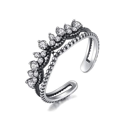 Jösva Vintage Ring 925 Sterling Silber Verstellbar Krone Retro Ring, Thai Silber Öffnen Einstellbar Versprechen Ring mit Weiß Zirkonia, Partner Ring als Geburtstagsgeschenk für Frau Freundin