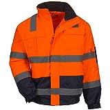 Nitras Motion TEX VIZ Plus - Wasserdichte Warnschutz-Pilotenjacke Nighthawk L - Arbeitsjacke für Damen & Herren mit einrollbarer Kapuze - Schutzjacke mit Reflexstreifen - Orange Größe XL