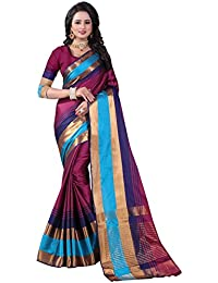 Wine Cotton Woven Saree With Blouse