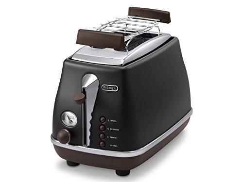 Delonghi CTOV 2103.BK Toaster Icona Vintage, schwarz/lederoptik