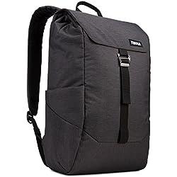 Thule 153422 Lithos Rucksack (Großes Laptop/Tablet-Fach, SafeZone-Fach, gepolsterter Rücken) Schwarz, 16L