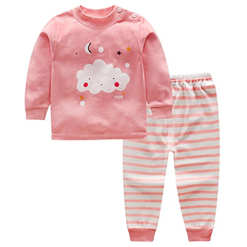 CHIC-CHIC Ensemble Pyjama Vêtements de Nuit Enfant Garçon Fille T-shirt à Manches Longues Top + Pantalon Sport Casual Impression Mignon Animal Rose 18-24mois