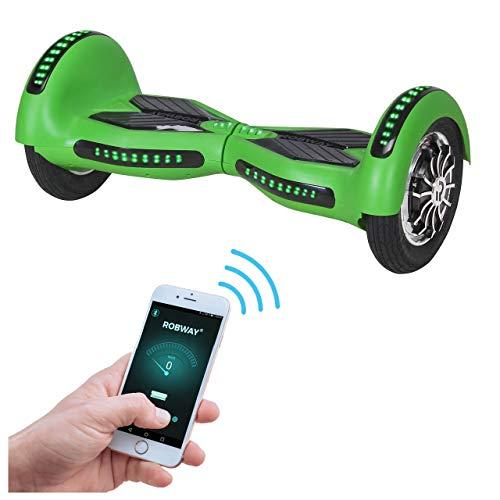 Robway W3 Hoverboard - Das Original - Samsung Marken Akku - Self Balance - Schlauchreifen - Bluetooth - 2 x 400 Watt Motoren - App (Grün Matt)